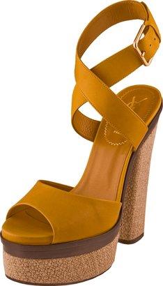 Yves Saint Laurent Open Linen Platform Sandal