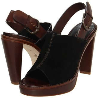 Cole Haan Stephanie Air Open Toe Clog (Black Suede/Chestnut) - Footwear