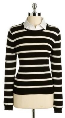 Vince Camuto Petite Detachable Collar Striped Sweater