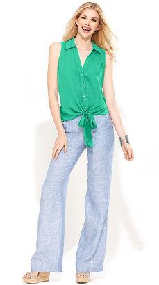 INC International Concepts Pants, Wide-Leg Chambray Linen