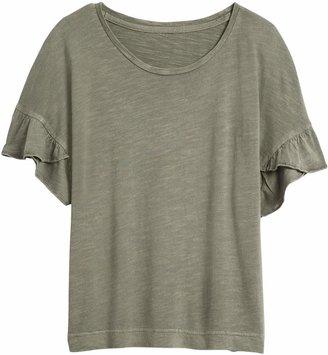 Banana Republic Slub Cotton-Modal Ruffled T-Shirt