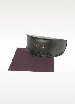 Gucci Women's Logo Leather Square Aviator Glasses