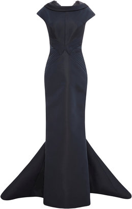 Zac Posen Silk-Faille Drape-Neck Gown