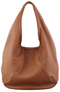 Bottega Veneta Open Leather Shoulder Hobo Bag, Dark Brown