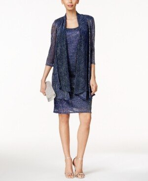 R & M Richards Sleeveless Metallic Dress and Jacket