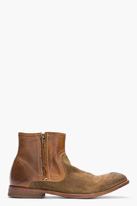 Hudson H BY Brown leather and brushed suede Dalton boots