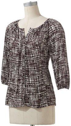 Dana Buchman geometric pintuck blouse
