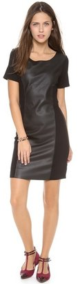 Velvet Ponte Dress with Faux Leather