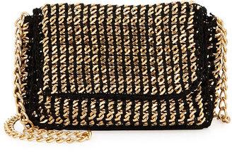 Sondra Roberts Golden Chain Crochet Crossbody Bag, Black