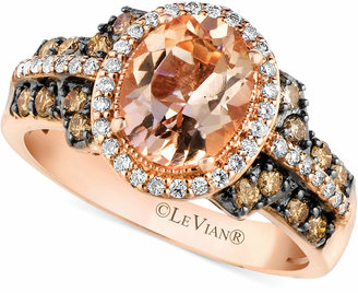 LeVian Le Vian Peach Morganite (1-3/8 ct. t.w.) and Diamond (1/2 ct. t.w.) Ring in 14k Rose Gold