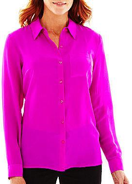 JCPenney Worthington Long-Sleeve 100% Silk Blouse