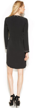 MICHAEL Michael Kors Long-Sleeve Studded Lace-Up Shift