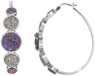 Ice.com Purple and Grey Platinum Drusy Sterling Silver Hoop Earrings