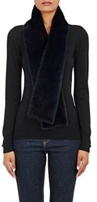 Barneys New York Women's Long-Haired Mink Stole-NAVY $995 thestylecure.com