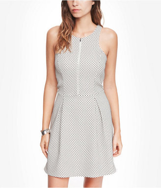Express Textured Dot Zip Front Fit And Flare Dress