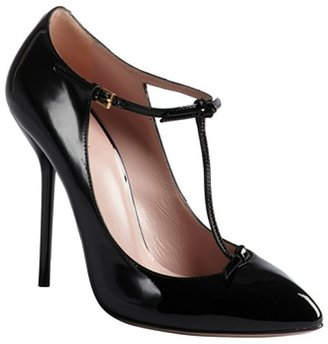 Gucci black patent leather bow embellished t-strap pumps
