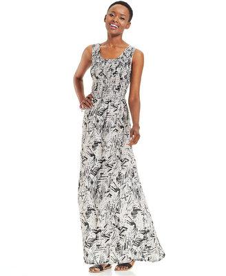 Elementz Petite Sleeveless Smocked Printed Maxi Dress