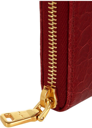 Croc-effect glossed-leather wallet