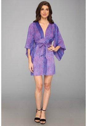 T-Bags Tbags Los Angeles Deep V-Neck Kimono Sleeves Mini Dress