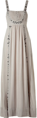 Hoss Intropia Stone Embroidered Silk Maxi Tank Dress