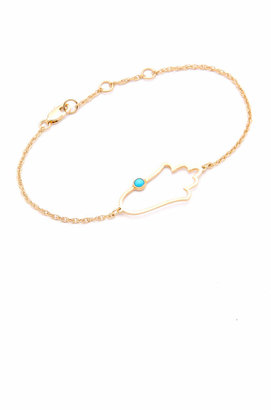 Jennifer Zeuner Jewelry Open Hamsa Bracelet with Turquoise $176 thestylecure.com