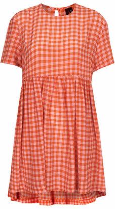 Boutique Silk gingham babydoll dress
