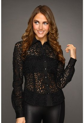 Catherine Malandrino Fitted Cotton Button-Down Shirt with Cut Out Detail (Noir) - Apparel