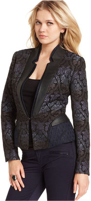 Walter W118 by Baker Jacket, Alexandria Long-Sleeve Brocade Faux-Leather Blazer