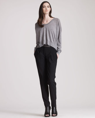Alexander Wang Tapered Leather-Waist Trousers