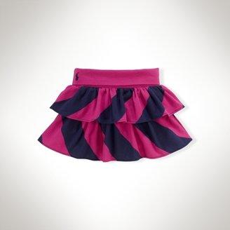 Striped Knit Ruffled Skirt