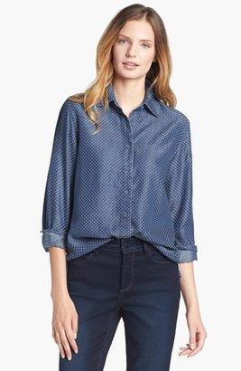 Foxcroft Dotted Denim Shirt