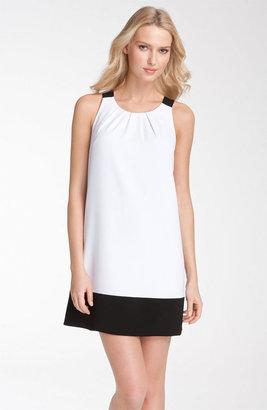 Donna Ricco Colorblock Pleated Neck Jersey Shift Dress