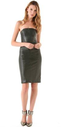 Reem acra Strapless Leather Dress