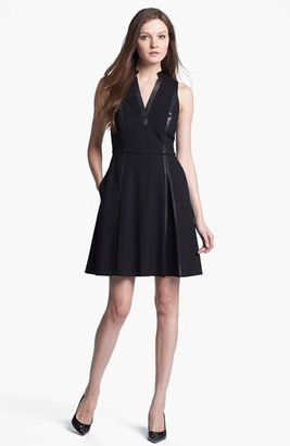 Rebecca Taylor Knit & Leather A-Line Dress