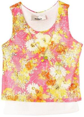 Amy Byer Iz mock-layer floral crochet top - girls 4-6x