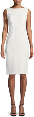 Lela Rose Sleeveless Boat-Neck Sheath Dress