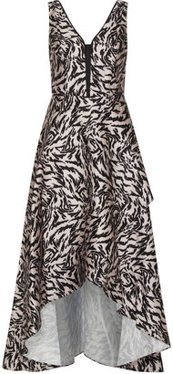 Adrianna Papell Animal Printed Mikado Gown