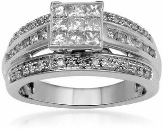 MODERN BRIDE 1 CT. T.W. Diamond 10K White Gold Multi-Top Bridal Ring