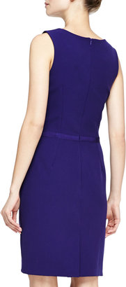 Halston Pleat-Front Crepe Dress