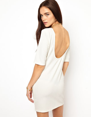 Glamorous Mini Dress In Textured Jersey With Scoop Back - Cream