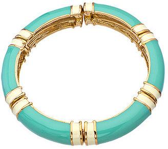 Carolee Gold Turquoise and White Enamel Bangle Bracelet