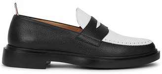 Thom Browne Black And White Grained Leather Loafers