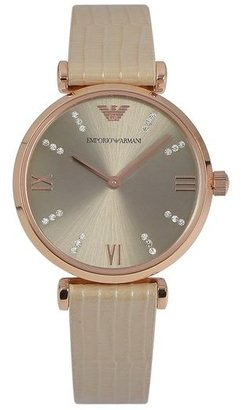Emporio Armani Crystal Marker Lizardskin Strap Watch, 32mm