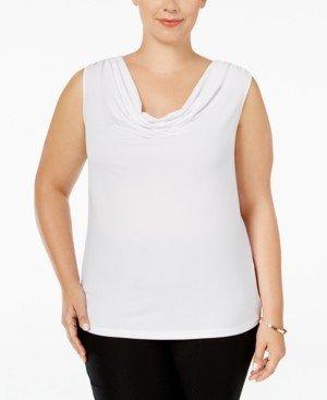 Calvin Klein Plus Size Sleeveless Drape-Neck Top