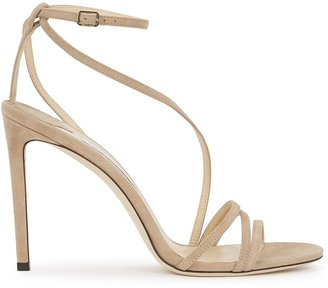 Jimmy Choo Tesca 100 Taupe Suede Sandals