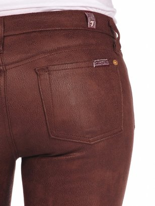 7 For All Mankind The Seamed Skinny In Crackled Leather Like Wine