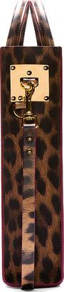 Sophie Hulme Brown Leopard Mini Tote Bag