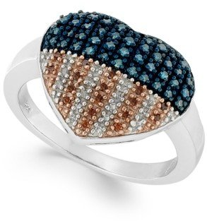 Macy's Sterling Silver Ring, Diamond and Diamond Accent Flag Heart Ring (1/3 ct. t.w.)
