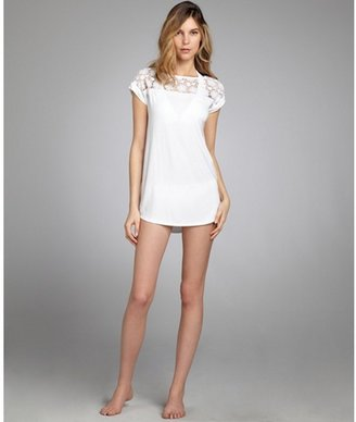 Shoshanna white stretch jersey lace inset t-shirt swim coverup