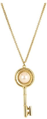 Kenneth Jay Lane Antique Gold Key Pendant (Pearl) - Jewelry